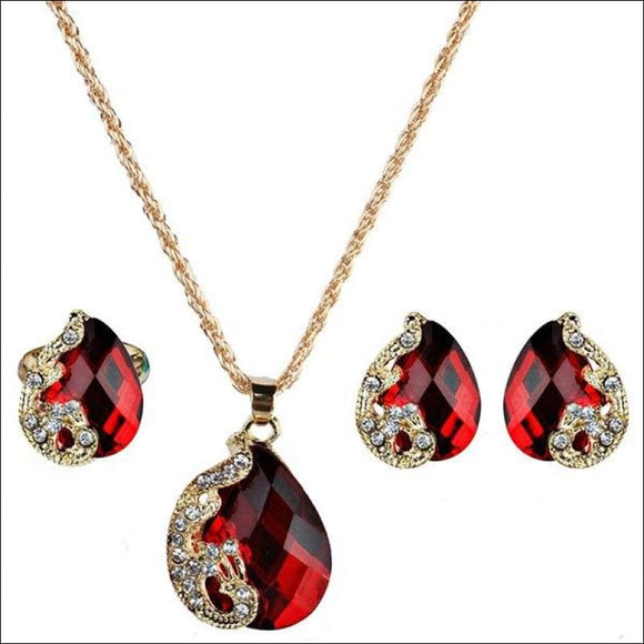 Faux Gem Peacock Teardrop Jewelry Set - Red - AmazinTrends.com