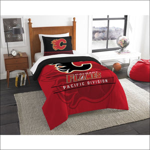 "Flames OFFICIAL National Hockey League, Bedding, """"Draft"""" Twin Printed Comforter (64""""x 86"""") & 1 Sham (24""""x 30"""") Set  by The Northwest Company - AmazinTrends.com"