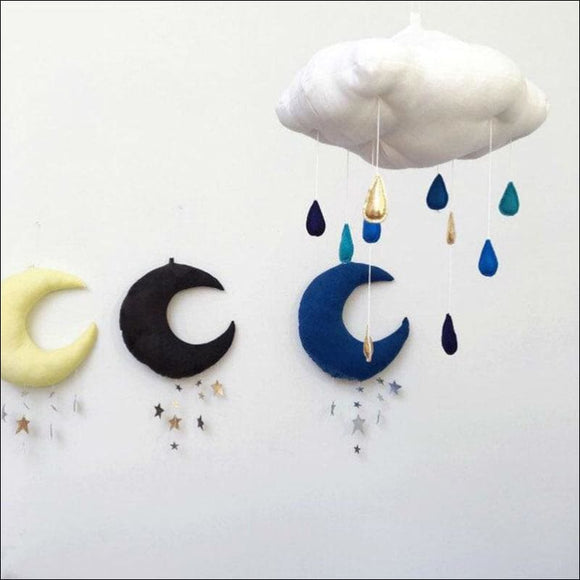 Floating Cloud Pendant with Moon Stars Baby Crib Bed Room Play Hanging Decoration baby hanging bed seat plush toy Hand Bell Kids - AmazinTrends.com