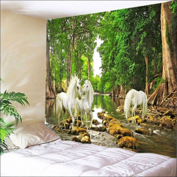 Forest River Unicorn Print Tapestry - AmazinTrends.com