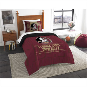 "Forida State OFFICIAL Collegiate, Bedding, """"Modern Take"""" Twin Printed Comforter (64""""x 86"""") & 1 Sham (24""""x 30"""") Set  by The Northwest Company - AmazinTrends.com"