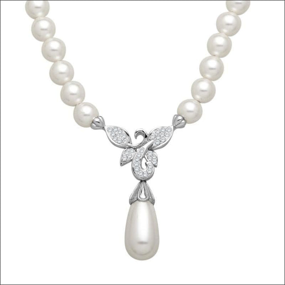 Freshwater Pearls, Sterling Silver, Crystaluxe Flower Necklace, Swarovski Crystals - AmazinTrends.com