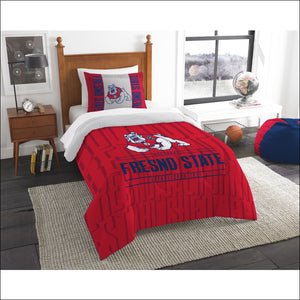 "Fresno State OFFICIAL Collegiate, Bedding, """"Modern Take"""" Twin Printed Comforter (64""""x 86"""") & 1 Sham (24""""x 30"""") Set  by The Northwest Company - AmazinTrends.com"