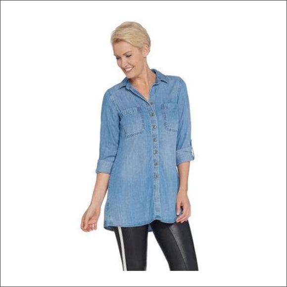 Front Curved, Side Stitch Button, Hem, Tunic with Roll-Tab Sleeve - AmazinTrends.com