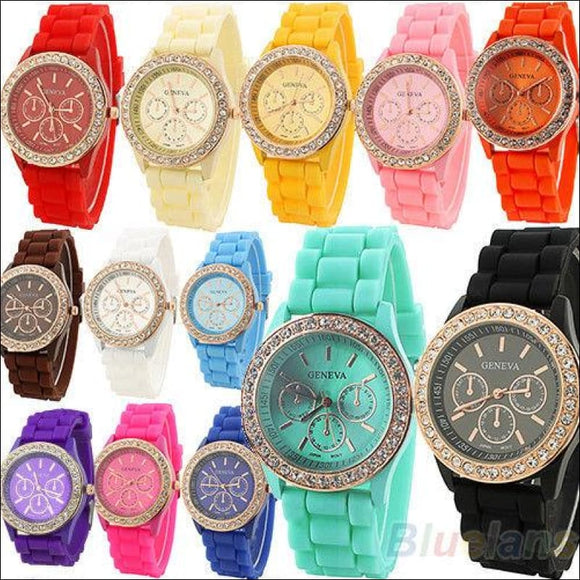 Geneva Silicone Quartz Golden Crystal Stone Jelly Wrist Watch - AmazinTrends.com