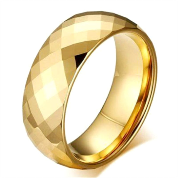 Gold Plated Tungsten Carbide Faceted RING BAND Size 7 Gold Plated Tungsten Carbide Faceted RING BAND