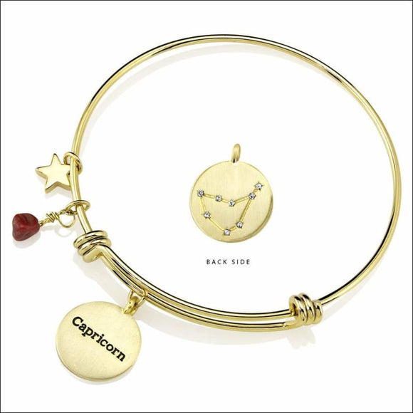Gold Plated Yellow Brass Constellation Birthstone  Horoscope Bangle - AmazinTrends.com