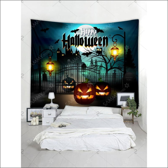 Halloween Night Pumpkin Lantern Terror Castle Printed Tapestry - Multi - W79 INCH * L71 INCH - AmazinTrends.com