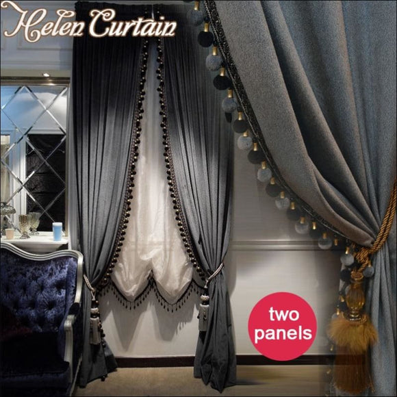 Helen Curtain Whole Luxury European Style Curtain Blackout Italian Velvet Valance Curtains For living Room 2 Panels Window  66 - AmazinTrends.com