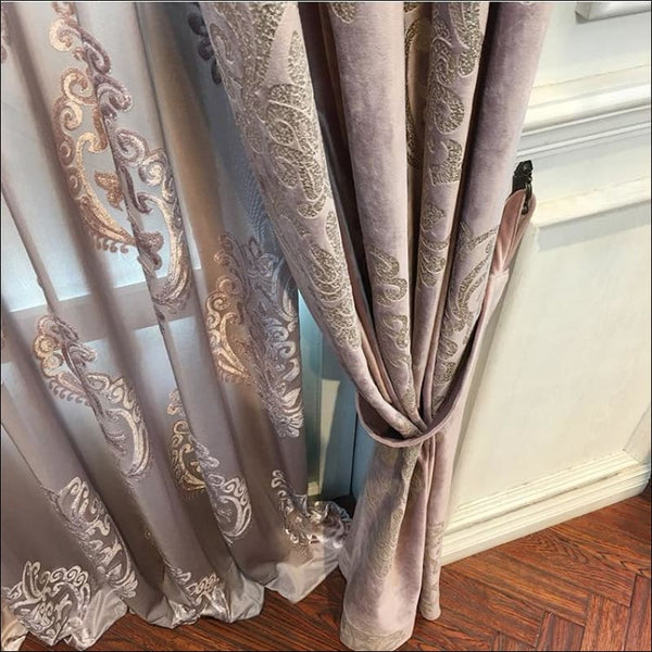 High-End Velvet Gilded Curtains for Living, Dining Room, Bedroom - AmazinTrends.com