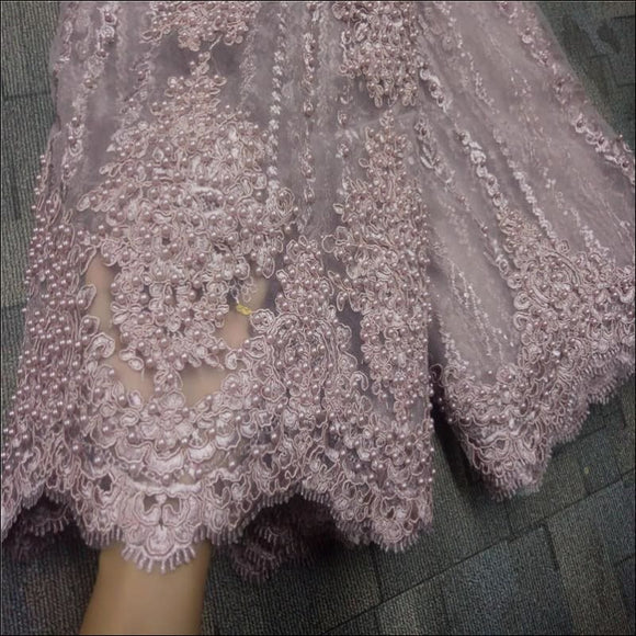 High Quality Nigerian Beaded Lace Fabric, 5 Yards - AmazinTrends.com