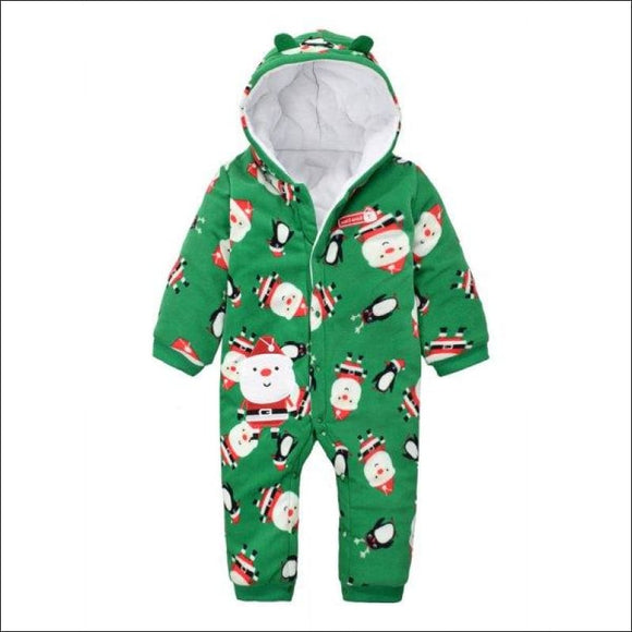 Hooded Long Sleeve Santa Claus Christmas Baby Romper - Green 95 - AmazinTrends.com