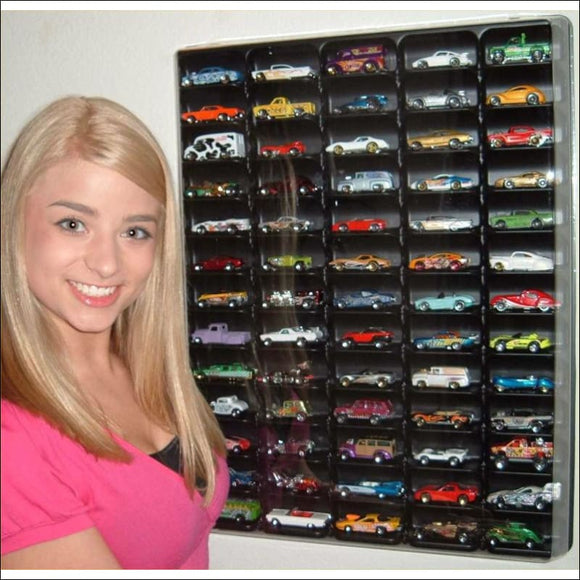 Hot wheels display case, (black) w/clear dust cover for 65 loose diecast cars - AmazinTrends.com