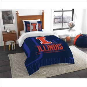 "Illinois OFFICIAL Collegiate, Bedding, """"Modern Take"""" Twin Printed Comforter (64""""x 86"""") & 1 Sham (24""""x 30"""") Set  by The Northwest Company - AmazinTrends.com"