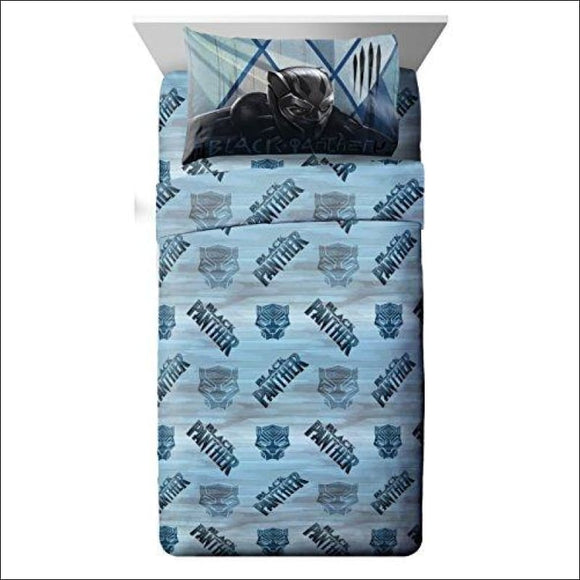 Jay Franco Marvel Black Panther Blue Tribe Twin Sheet Set - 3 Piece Set Super Soft Kid's Bedding - Fade Resistant Polyester Microfiber Sheets (Official Marvel Product) - AmazinTrends.com