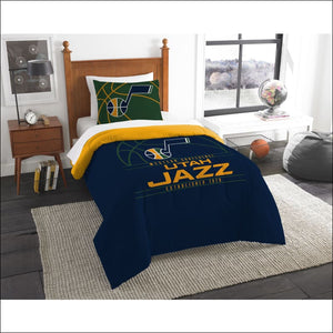 "Jazz OFFICIAL National Basketball Association, Bedding, """"Reverse Slam"""" Printed Twin Comforter (64""""x 86"""") & 1 Sham (24""""x 30"""") Set  by The Northwest Company - AmazinTrends.com"