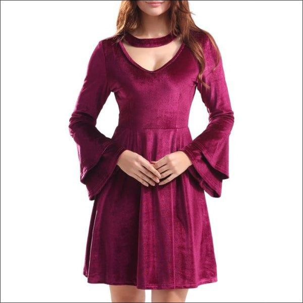 Keyhole Bell Sleeve Velvet Mini Dress - Wine Red S - AmazinTrends.com