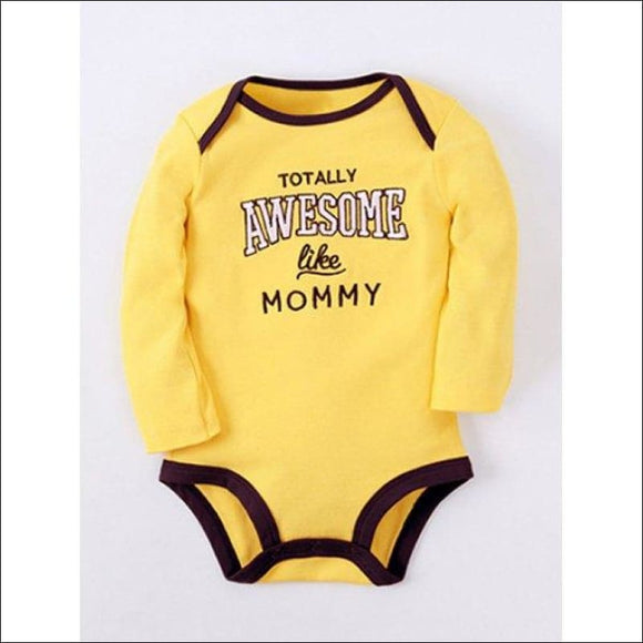 Kids Long Sleeve Letter Print Baby Romper - Yellow 95 - AmazinTrends.com