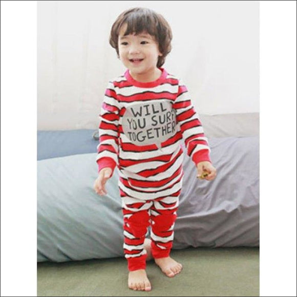 Kids Striped Letter Print Long Sleeve Pajamas - Red 130 - AmazinTrends.com