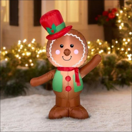 LED Inflatable Gingerbread Man For Christmas - AmazinTrends.com