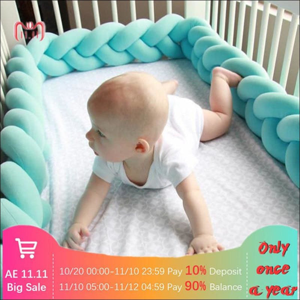 Long Knotted Braided Pillow Crib Bumper 🚼 - AmazinTrends.com