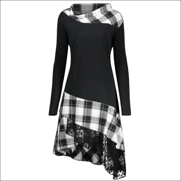 Long Plus Size Lace Plaid Panel Top - Black White - 5xl - AmazinTrends.com