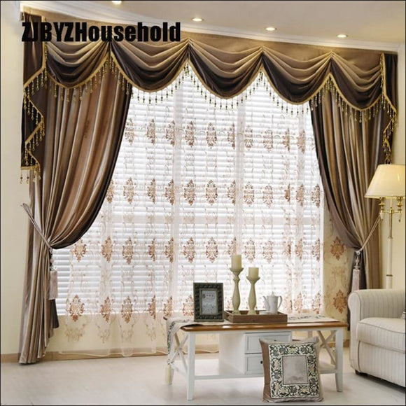 Luxury European Style Thickening Shading Pure Color Italy Velvet Head Curtains for Living Room Modern Window Valance for Bedroom - AmazinTrends.com