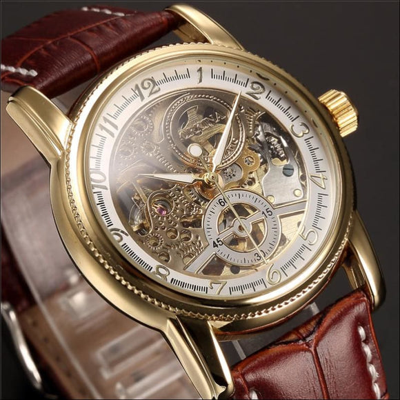 Luxury Golden Skeleton Mechanical, Steampunk, Male Clock Automatic Wristwatch - AmazinTrends.com