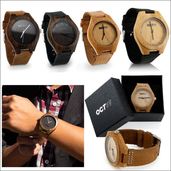 Luxury Men's Women's Bamboo Wood Watch, Quartz Leather Wristwatches Fashion w/Box - AmazinTrends.com
