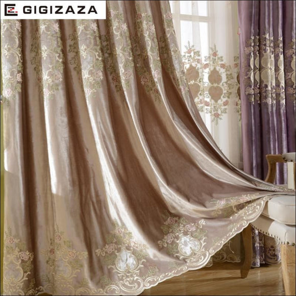 Luxury Velvet Embroidery Curtains - AmazinTrends.com