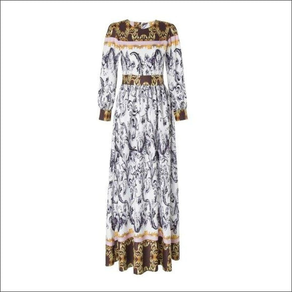 Maxi Abstract Printed Long Sleeve Dress -  S - AmazinTrends.com