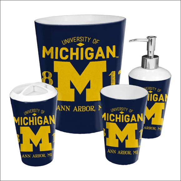 Michigan OFFICIAL Collegiate 4-Piece Bath Set - AmazinTrends.com