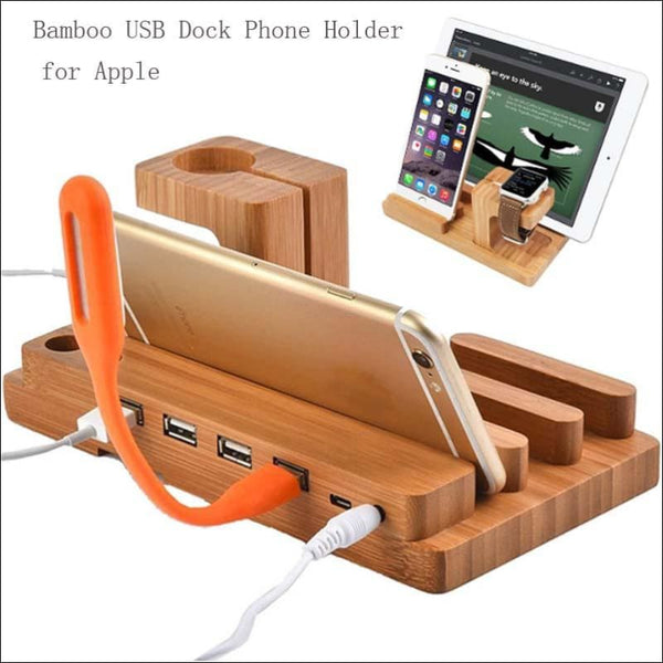 Multifunctional Bamboo USB Charging Dock - AmazinTrends.com