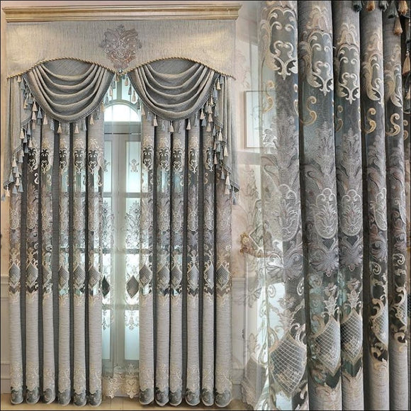 New European Luxury Gray Curtains for Living Dining Room Bedroom Fabric Chenille Embroidery Valance Curtain Fabric Custom - AmazinTrends.com