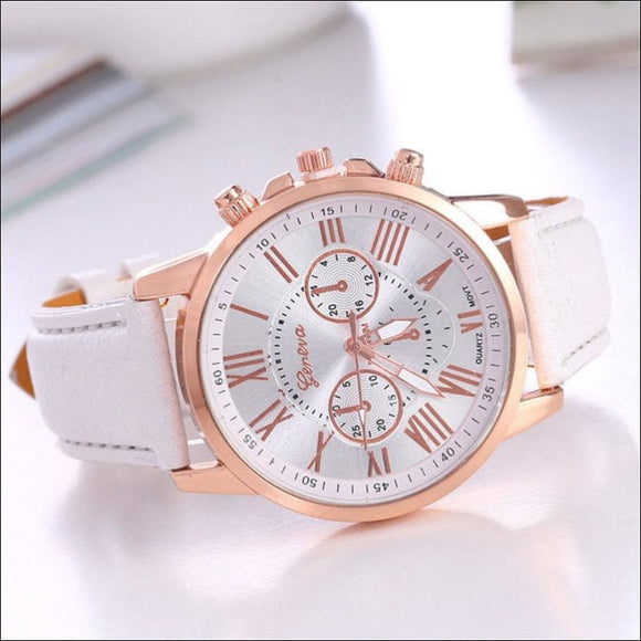 New Fashion Geneva Women Leather Band Stainless Steel Quartz Analog Wrist Watch - AmazinTrends.com