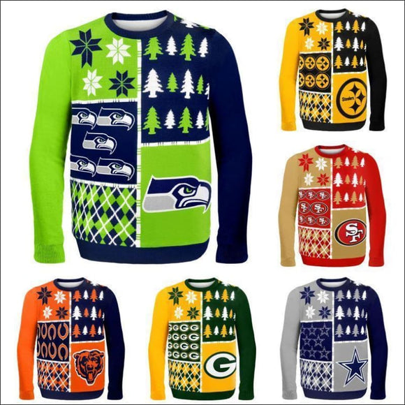 NFL Football 2014 Logo Ugly Christmas Sweater, Busy Block Style, - Pick Your Team,! - AmazinTrends.com