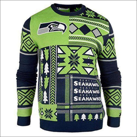 NFL UGLY SWEATER Seattle Seahawks Patches Sweatshirt, Officially Licensed NWT - AmazinTrends.com