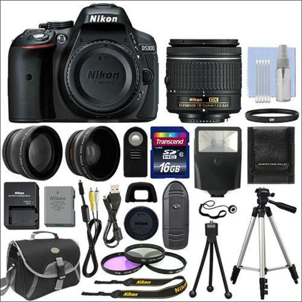 Nikon D5300 Digital SLR Camera + 3 Lens Kit 18-55mm Lens + 16GB Bundle - AmazinTrends.com