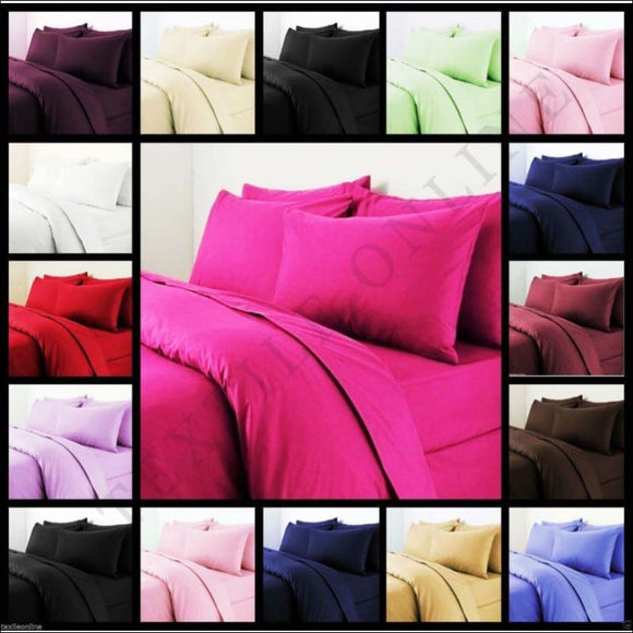 Plain Dyed Duvet Quilt Cover With Pillow Case Bedding Set Single, Double & King - AmazinTrends.com