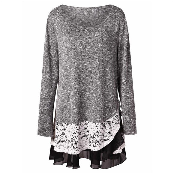 Plus Size Lace Insert Layered Tunic Knitwear - Gray Cloud - L - AmazinTrends.com