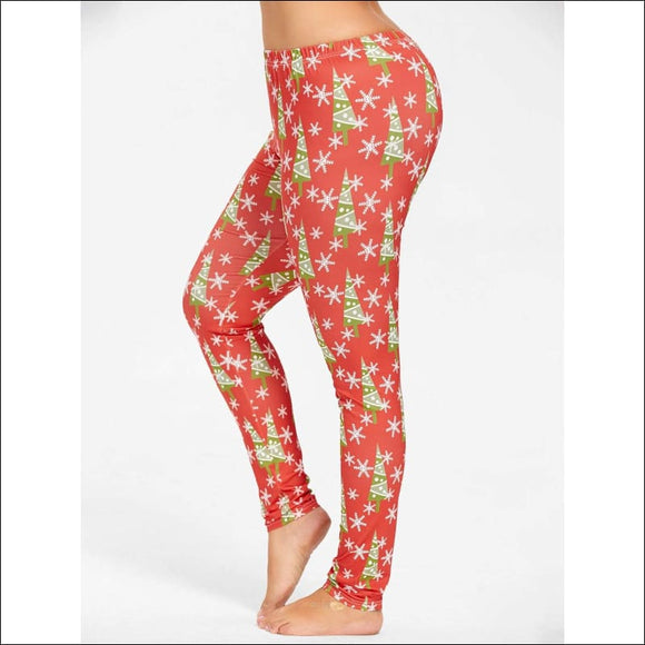 Plus Size Slim Christmas Tree Snowflake Printed Pants - Red - Xl - AmazinTrends.com
