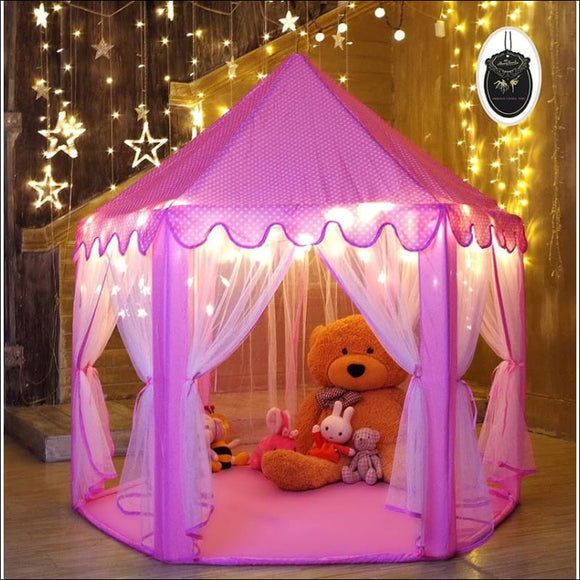 Princess Tent for Girls Indoor and Outdoor Hexagon Play Castle House with 20 Feet Decorative LED Star Lights, 55 x 53 inches, Pink - AmazinTrends.com