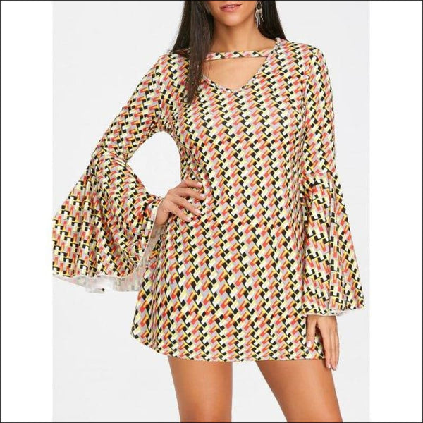 Printed Bell Sleeve A-line Mini Dress -  L - AmazinTrends.com