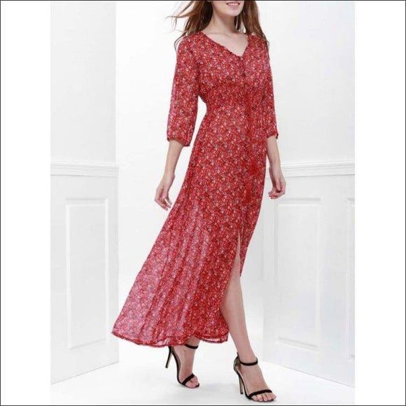 Printed High Slit Maxi Dress with Sleeves - Red L - AmazinTrends.com