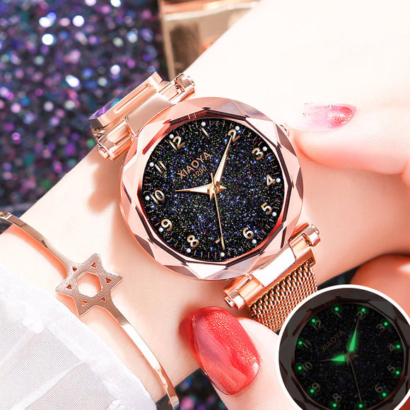 Luxury Bright Starry Sky Watch, Women Fashion, Rose Gold - AmazinTrends.com