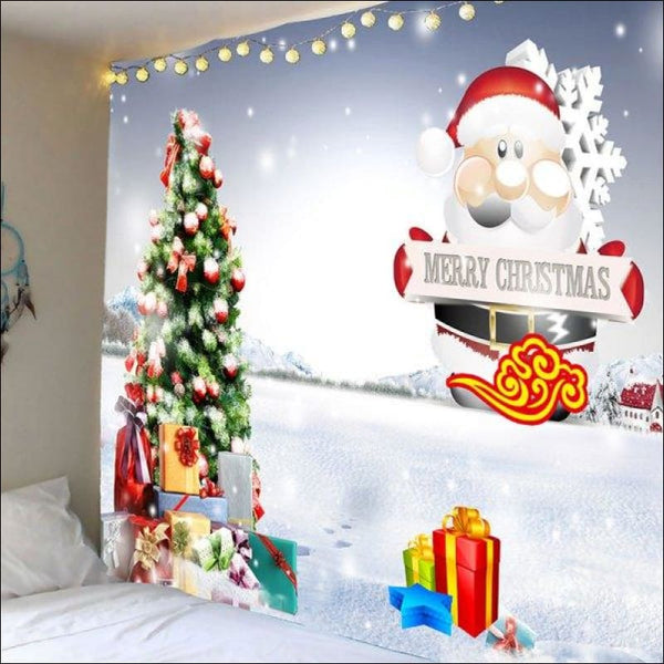 Santa Cluse Christmas Tree Gifts Pattern Wall Tapestry - White And Red W79 Inch * L59 Inch - AmazinTrends.com