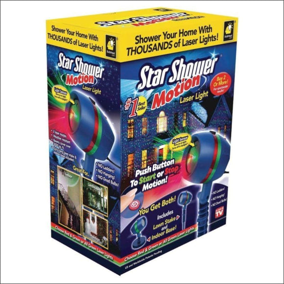Star Shower Motion Laser Lights, Projector, Indoor Outdoor, Green Red - AmazinTrends.com