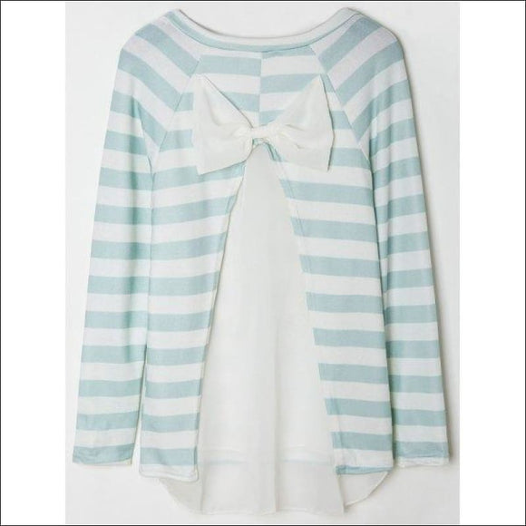 Stylish Scoop Collar Long Sleeve Striped Spliced Women's Knitwear - White And Green M - AmazinTrends.com