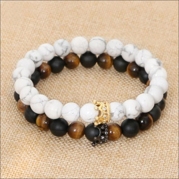 Tiger Eye Couple Bracelets, White Howlite, CZ, Crown King Queen, 8mm Beads - AmazinTrends.com
