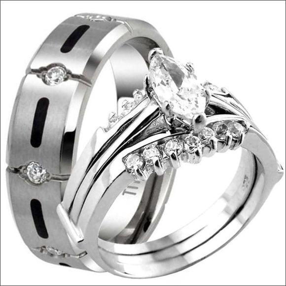Titanium & 925 Sterling Silver Marquise Cut CZ Engagement Wedding Band Ring Set - AmazinTrends.com